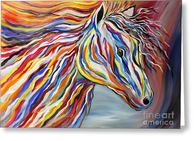 Black Painted Edges Greeting Cards - PASSION Bold and Colorful Horse Head Greeting Card by Janice Rae Pariza