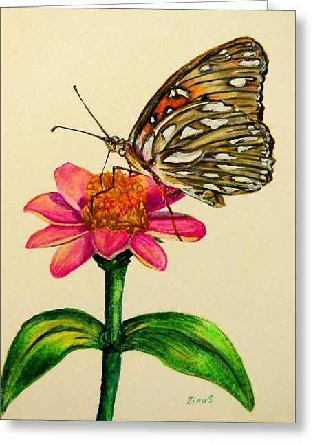 Colored Pencil On Canvas Greeting Cards - Passion butterfly on zinnia Greeting Card by Zina Stromberg