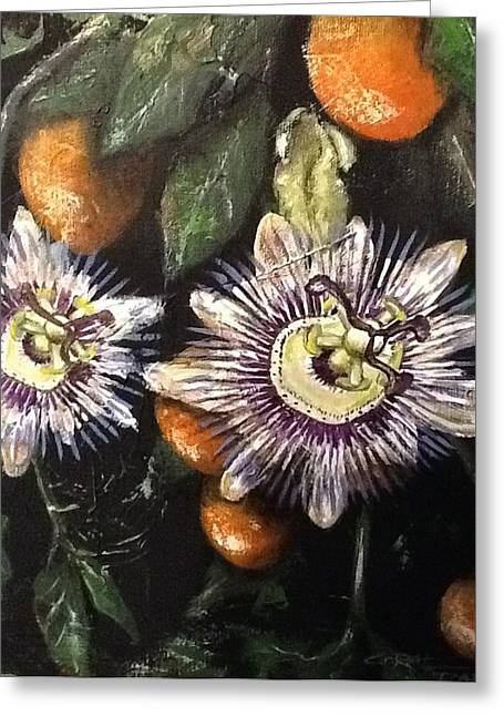 Passion Fruit Paintings Greeting Cards - Passion Greeting Card by Coral Rae