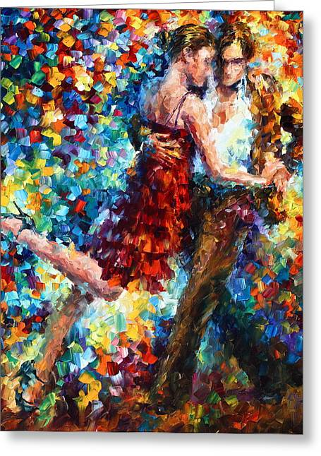 Ballet Dancers Greeting Cards - Passion Dancing Greeting Card by Leonid Afremov