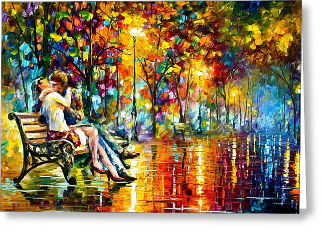 Park Benches Paintings Greeting Cards - Passion Evening -  New Greeting Card by Leonid Afremov