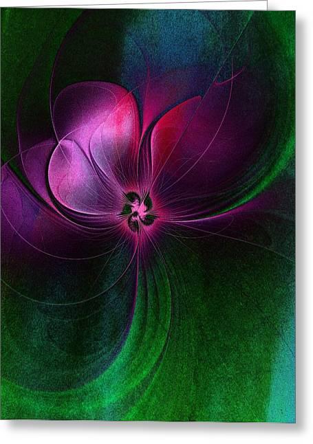 Floral Digital Art Digital Art Greeting Cards - Passion Flower Greeting Card by Amanda Moore