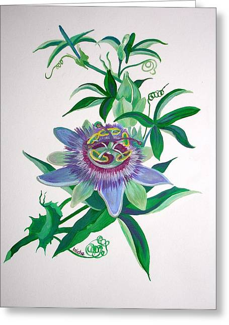 Passiflora Paintings Greeting Cards - Passion Flower Greeting Card by Tracey Harrington-Simpson