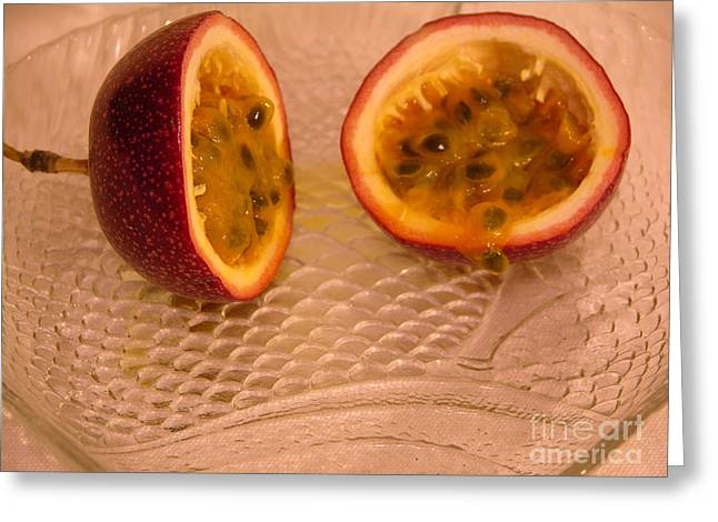 Passion Fruit Greeting Cards - Passion fruit on fish plate 11-3-13 Greeting Card by Julianne Felton