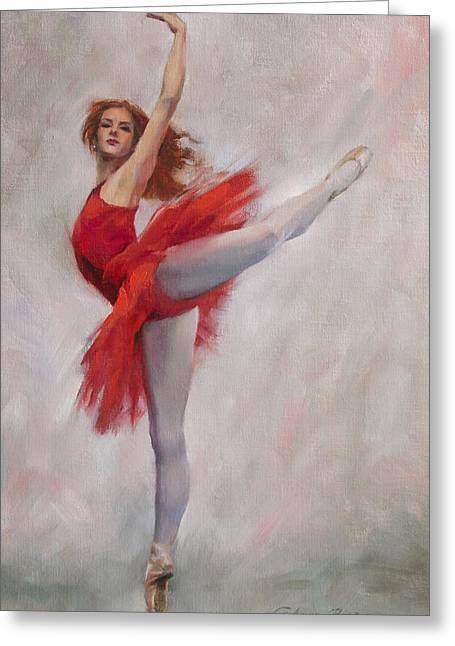 Ballet Art Greeting Cards - Passion in Red Greeting Card by Anna Bain