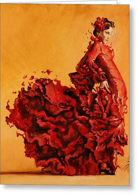 Dancing Girl Greeting Cards - Passion Greeting Card by Karina Llergo Salto