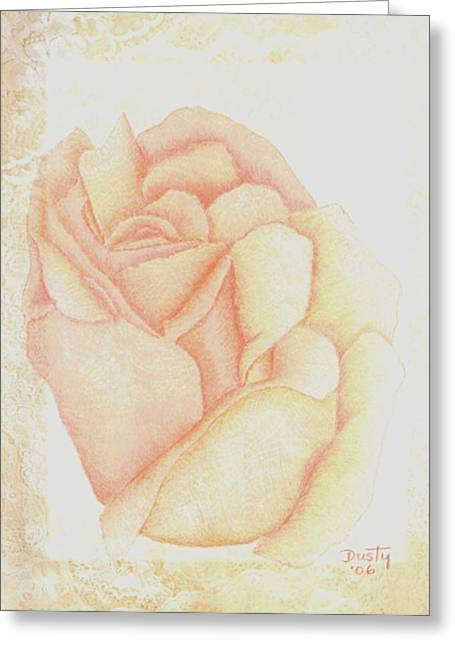 Powder Drawings Greeting Cards - Passion Peach Greeting Card by Dusty Reed
