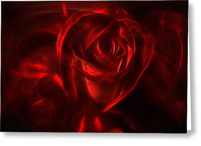 Detail Mixed Media Greeting Cards - Passion Rose Bathed In Red - Abstract Realism Greeting Card by Georgiana Romanovna