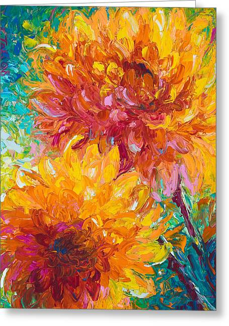 Dahlias Greeting Cards - Passion Greeting Card by Talya Johnson