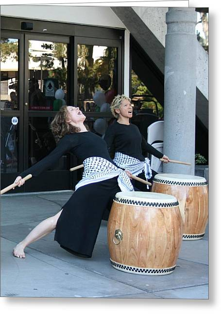 Woman Drumming Greeting Cards - Passionate drummers Greeting Card by Cynthia Marcopulos