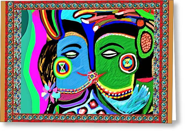 Marathon Champion Greeting Cards - Passionate Kiss Kamasutra Khajuraho India Cave Style Art NavinJoshi Rights Managed Images Graphic De Greeting Card by Navin Joshi