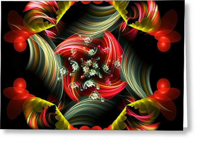 Algorythm Greeting Cards - Passionate Love Bouquet Abstract Greeting Card by Georgiana Romanovna