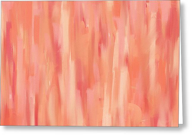 Green And Yellow Abstract Greeting Cards - Passionate Peach Greeting Card by Lourry Legarde