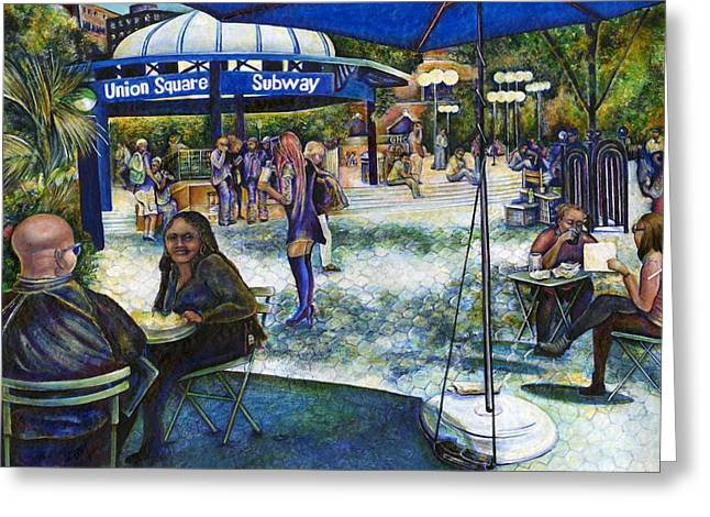 Union Square Paintings Greeting Cards - Passionate People Playing in the Park Greeting Card by Gaye Elise Beda