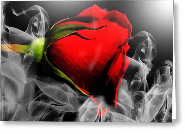 Romance Mixed Media Greeting Cards - Passionate Red Hot Smoky Rose Greeting Card by Georgiana Romanovna