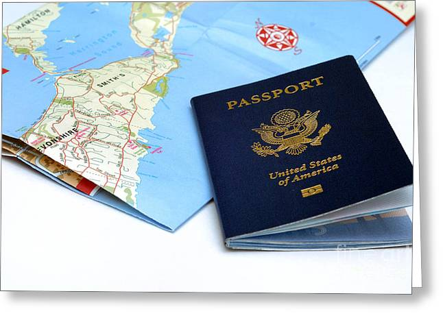 Gear Greeting Cards - Passport and map of Bermuda Greeting Card by Amy Cicconi