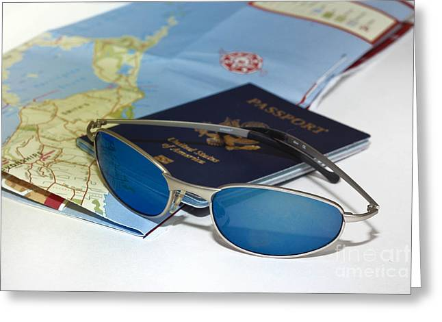 Gears Greeting Cards - Passport sunglasses and map Greeting Card by Amy Cicconi