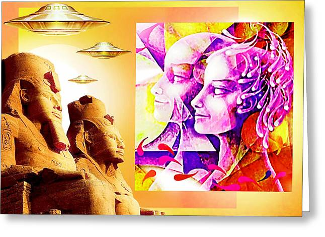 Pharaoh Mixed Media Greeting Cards - PAST and FUTURE LEGENDS Greeting Card by Hartmut Jager