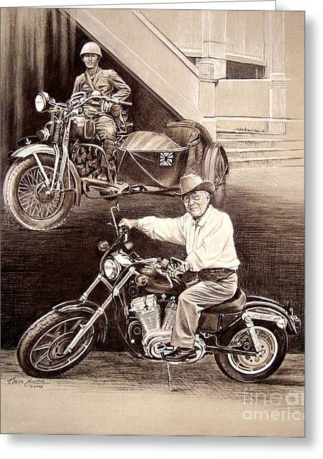 Motorcycles Pastels Greeting Cards - Past and Present Greeting Card by Karen Barton