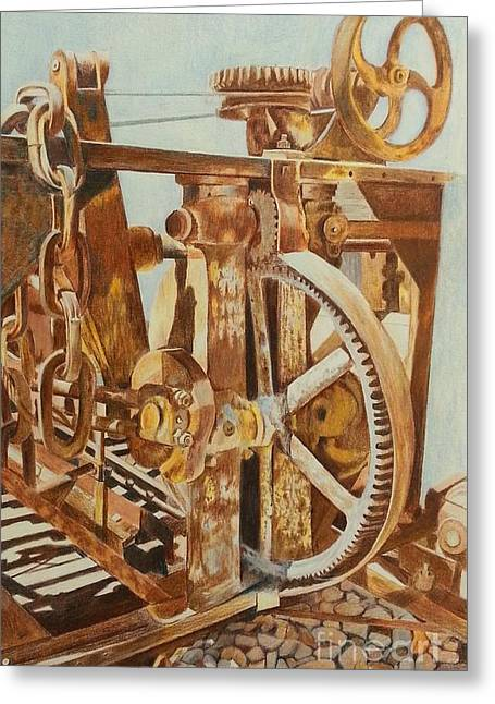 Cog Drawings Greeting Cards - Past Its Prime Greeting Card by Linda Cleveland