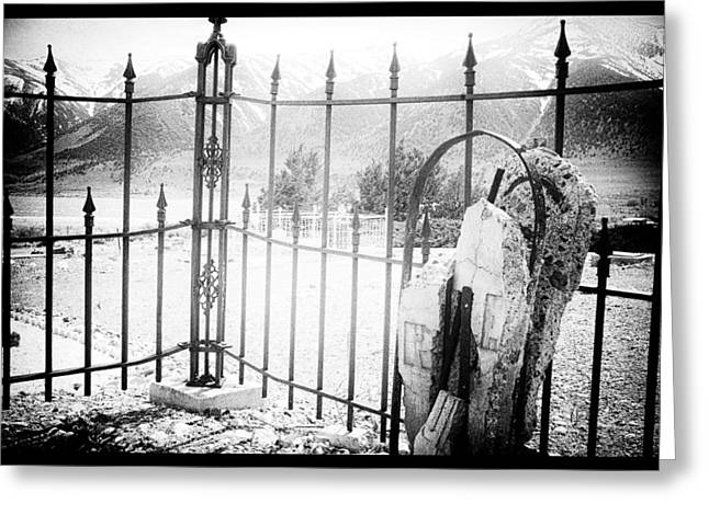 Black Cemetery Greeting Cards - Past Life Greeting Card by Cat Connor