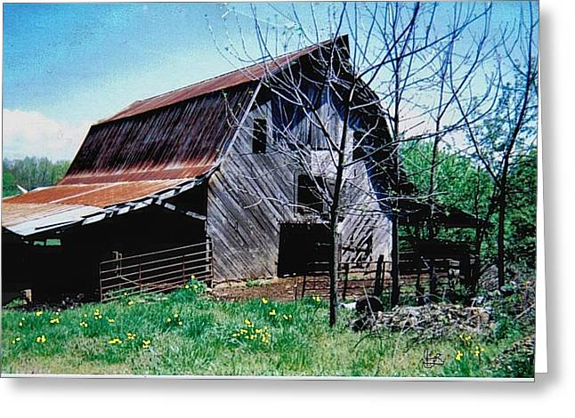Red Roofed Barn Greeting Cards - Past Life Greeting Card by Glenda Barrett