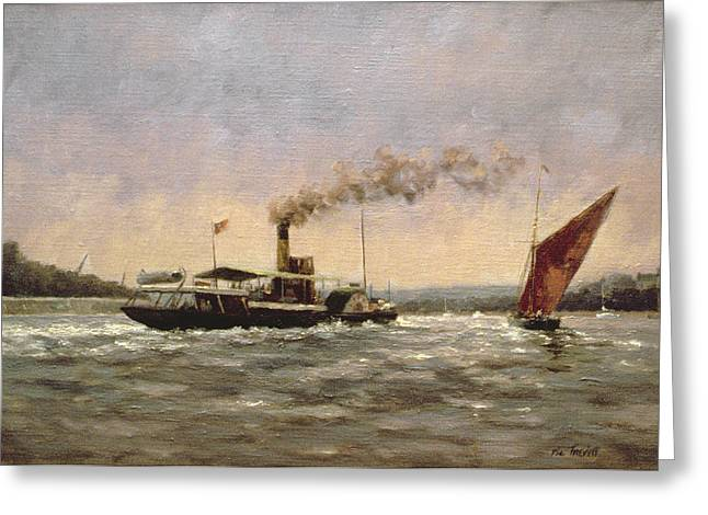 Steamboats Greeting Cards - Past On The Medway Greeting Card by Vic Trevett