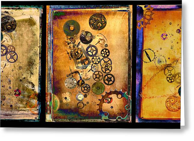 Component Greeting Cards - Past-Present-Future-Triptych Greeting Card by Fran Riley
