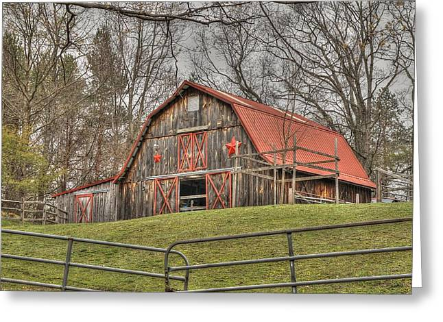 Red Roofed Barn Greeting Cards - Past the gate Greeting Card by Lisa Hurylovich