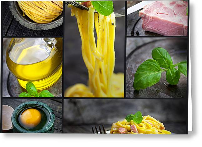 Spaghetti Greeting Cards - Pasta carbonara collage Greeting Card by Mythja  Photography