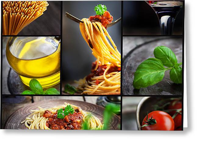 Pasta collage Greeting Card by Mythja  Photography