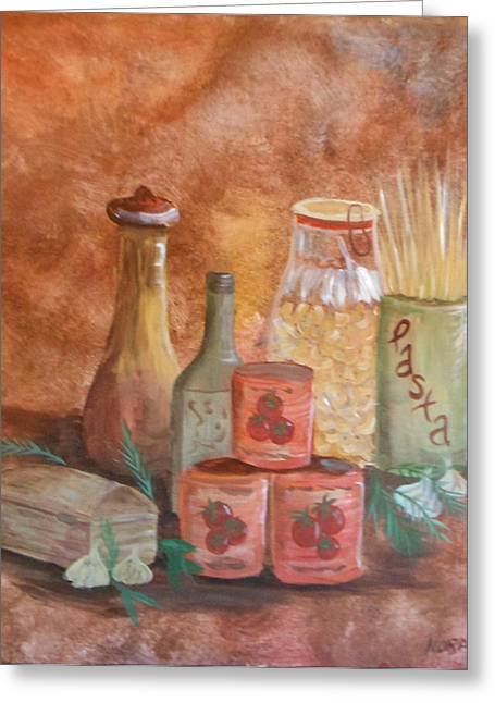 Faux Finish Greeting Cards - Pasta containers Greeting Card by Nora Niles