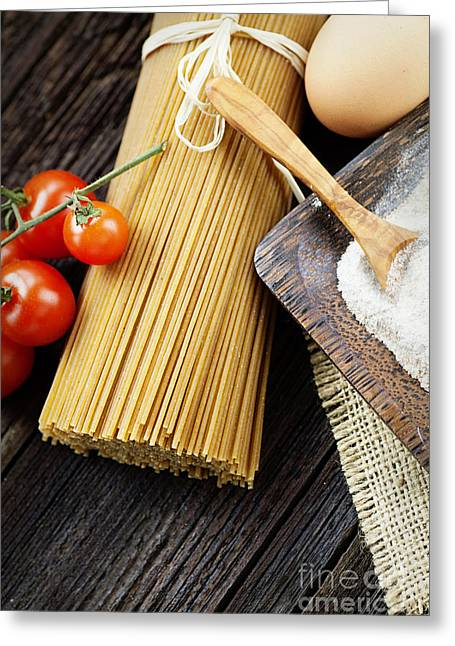 Wholewheat Greeting Cards - Pasta ingredients Greeting Card by Mythja  Photography