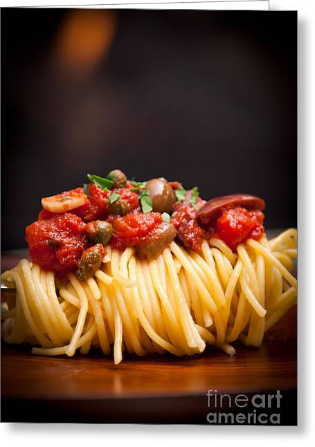 Spaghetti Noodles Greeting Cards - Pasta Puttanesca vertical crop Greeting Card by Patricia Bainter