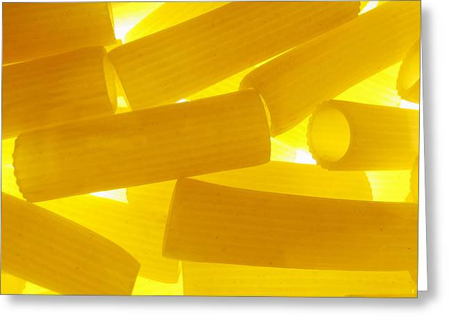 Noodles Greeting Cards - Pasta Rigatoni Yellow Transparent Macro Greeting Card by Cindy Xiao