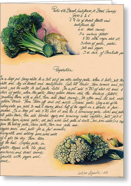 Painted Recipes Greeting Cards - Pasta with Broccoli and Cauliflower Greeting Card by Alessandra Andrisani