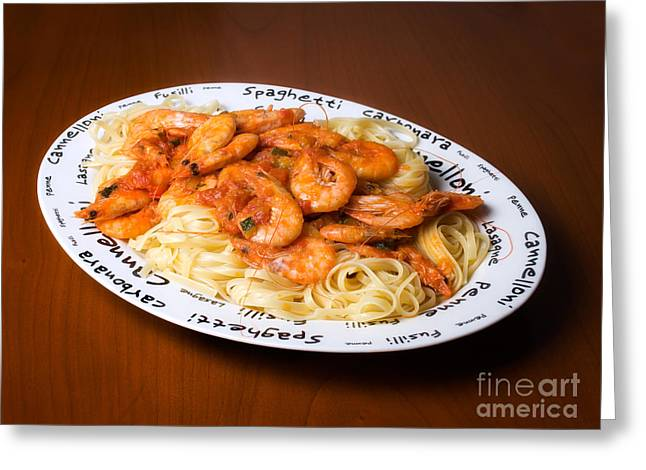 Spaghetti Noodles Greeting Cards - Pasta with shrimps Greeting Card by Sinisa Botas