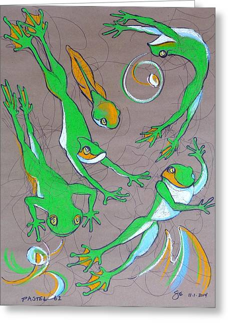 Amphibians Pastels Greeting Cards - Pastel 61 - Frogs Greeting Card by Steve Emery