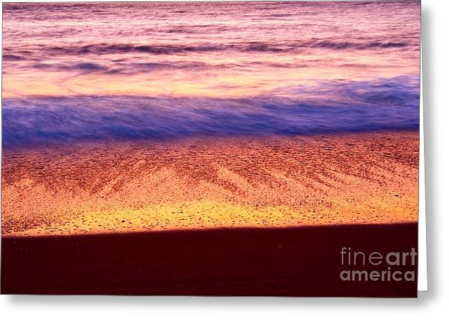 Sand Patterns Greeting Cards - Pastel - Abstract waves rolling in during sunset. Greeting Card by Jamie Pham