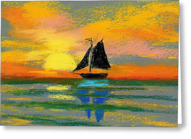 Ocean Sailing Pastels Greeting Cards - Pastel Boat Greeting Card by Anne Marie Brown