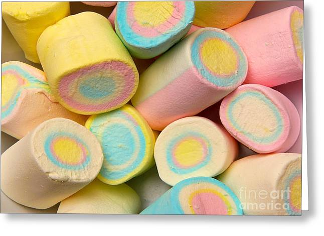 Teeth Greeting Cards - Pastel Colored Marshmallows Greeting Card by Amy Cicconi
