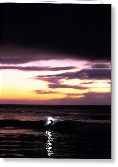 Surfing Art Greeting Cards - Pastel Flash Greeting Card by Sean Davey