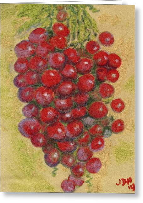 Vines Pastels Greeting Cards - Pastel Grapes Greeting Card by Joseph Hawkins