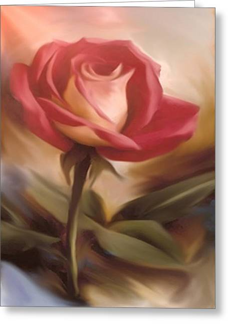 Pastel Light Red Rose Greeting Card by Dennis Buckman
