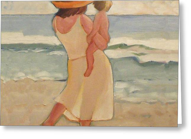 Family Walks Paintings Greeting Cards - Pastel Morning Beach Walk with Mother and baby Greeting Card by Mary Hubley