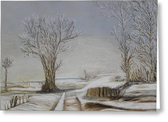 Winter Road Scenes Pastels Greeting Cards - Pastel MSC 003 Greeting Card by Mario Sergio Calzi