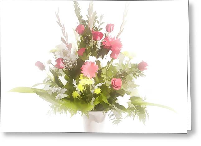 Aesthetics Pastels Greeting Cards - Pastel painting spring flower arrangement in Color 3175.02 Greeting Card by M K  Miller