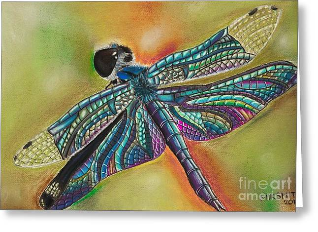 Dragonflies Pastels Greeting Cards - Pastel Paradise Greeting Card by Mik Smith