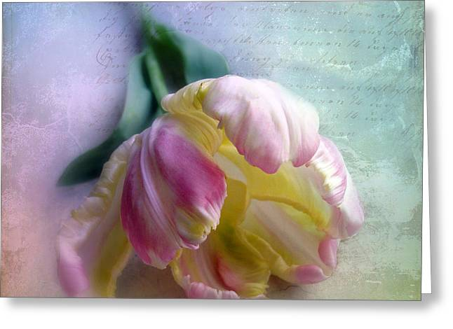 Texture Floral Greeting Cards - Pastel Poem Greeting Card by Jessica Jenney