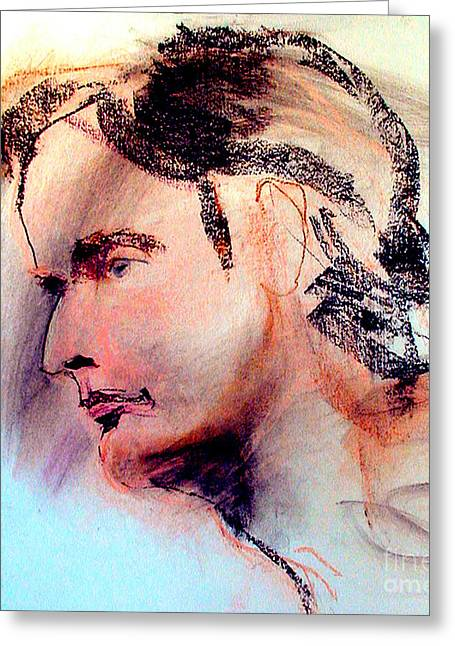 Old Man With Hat Greeting Cards - Pastel Portrait of a man Greeting Card by Greta Corens